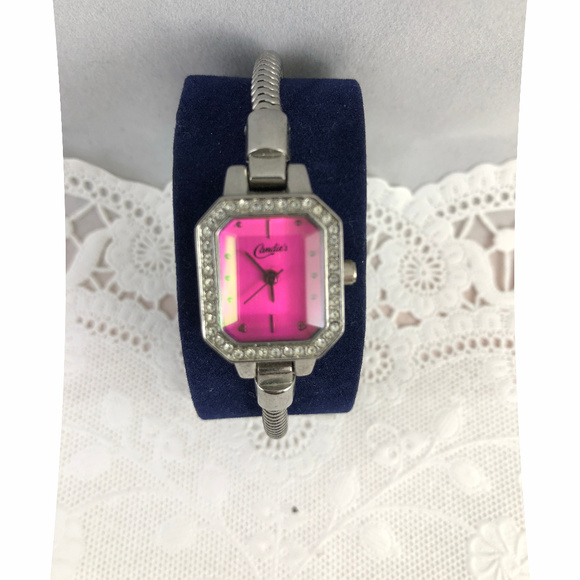 Candie's Other - Candies Pink Crystal face Snake Bracelet Watch